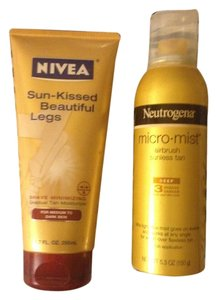 Neutrogena Nivea/Neutrogena 2 Peice Lot-1Micr-mist Airbush Sunless Tan-5.3 OZ-2 Nivea-Sun Kissed Beautiful Legs Instant Tan Lotion-Retail Both $27.98