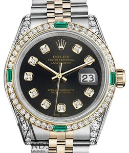 Rolex Rolex StainlessSteel & Gold 36mm Datejust Chocolate Diamond Emerald Dial
