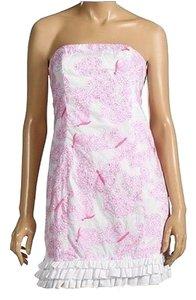Lilly Pulitzer short dress White & Pink Butterflies Strapless Embroidered Sundress on Tradesy
