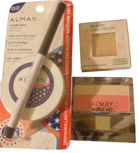 Almay BRAND NEW-#1 Eyeliner-Black-#2- Eye Makeup Remover Pads-15 Count-#3-Wake-Up Blush + Highlighter/Brush-Color-Rose-#4 Pure Blends Eyeshadow-Color Ivory-retail For all $30.97