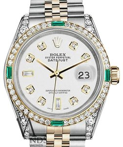 Rolex Rolex Steel and Gold 36mm Datejust Watch White 8+2 Diamond Emerald