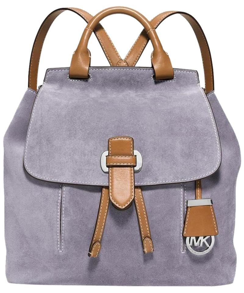 38bb8a606ee5 Michael Kors New Romy Medium Lilac/Luggage Lilac Suede Suede/Leather  Backpack