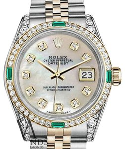 Rolex Women's Rolex Steel & Gold 31 mm Datejust MOP Color Diamond Dial Emerald watch