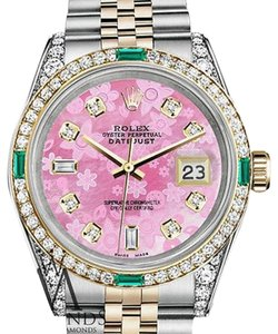 Rolex Rolex Steel-Gold 36mm Datejust Pink Flower Color Diamond Emerald Dial