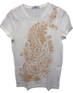 J.Crew Casual T Shirt White w. burnt orange design