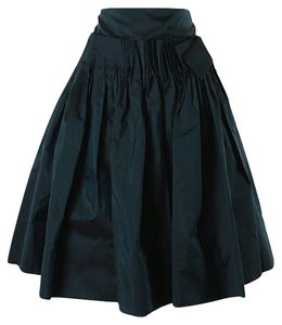 J.Crew Collection Flared Pleated Silk Classic Skirt Dark Blue Jade
