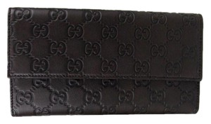 Gucci New GUCCI Dark Brown Guccissima Leather Tri-fold Clutch Wallet 257303 2086