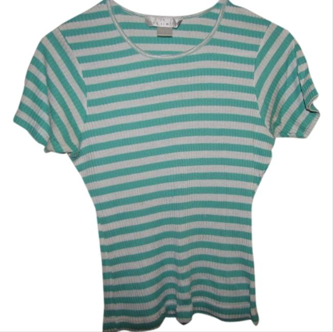The Limited Striped T Shirt Green and white