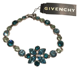 Givenchy Stunning , Swarovski elements blue marine crystals sets in silver tone bracelet