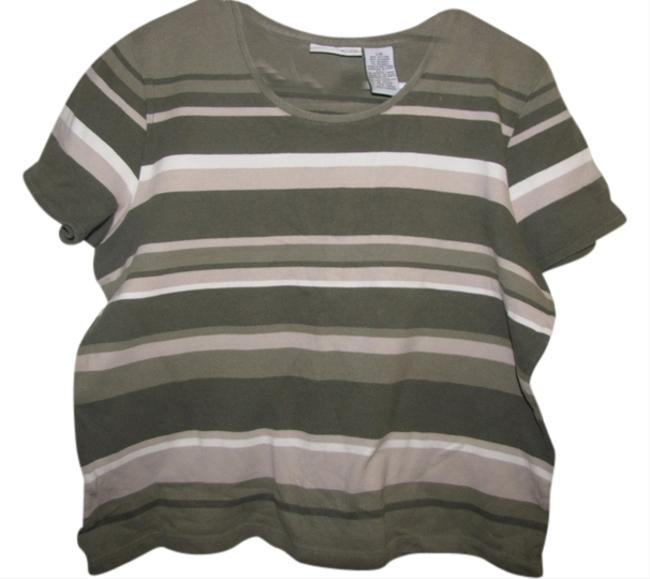 Preload https://item1.tradesy.com/images/croft-and-barrow-olive-green-tan-and-white-stretch-tee-shirt-size-12-l-1680735-0-0.jpg?width=400&height=650