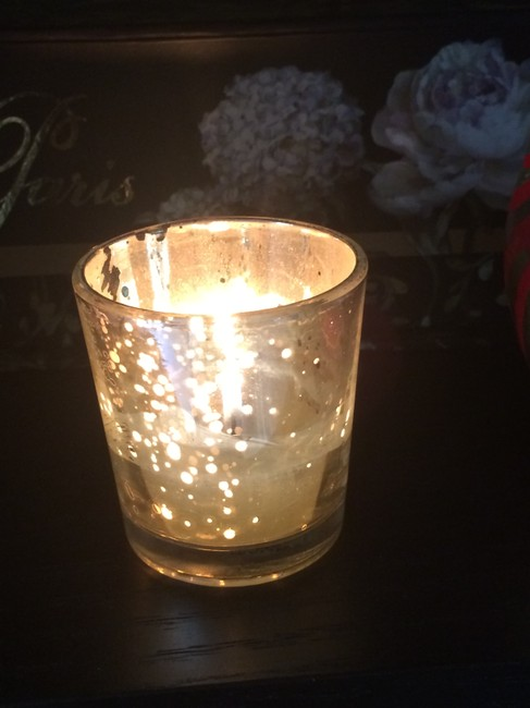 Item - Silver Mercury Glass Style Holders Votive/Candle