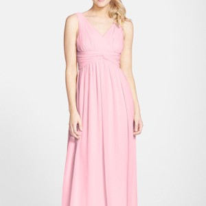 Donna Morgan Blush Chiffon Traditional Bridesmaid/Mob Dress Size 8 (M)