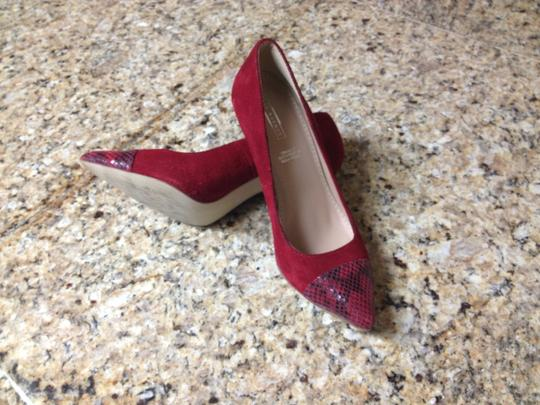 5Th Avenue Heels Red Suede Leather Snake Print Women Ladies Comfort Career Modern Sexy Pretty Rec Pumps