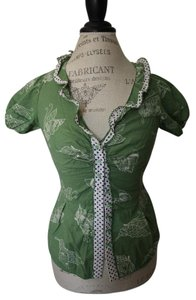 Odille Vintage V-neck Polka Dot Top Green