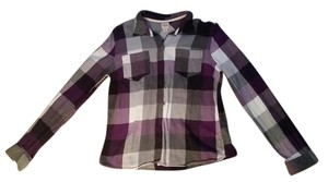 Mossimo Supply Co. Button Down Flannel Button Down Shirt Purple/Grey/White checkered