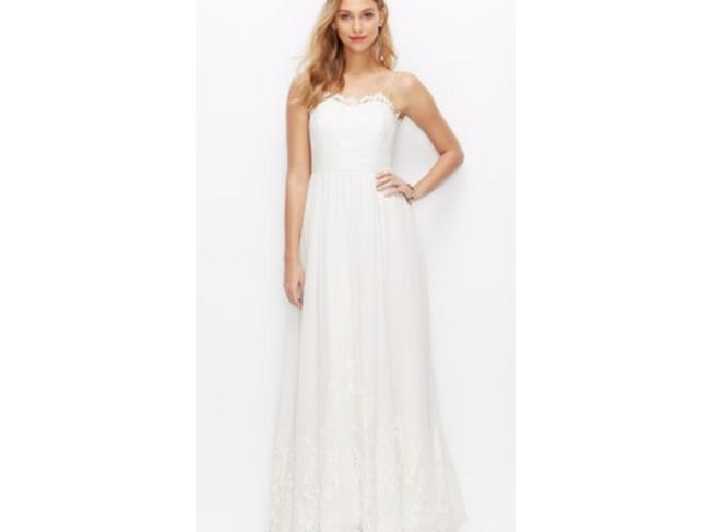 Item - White Silk Lace Georgette Spaghetti Strap Gown Casual Wedding Dress Size 14 (L)