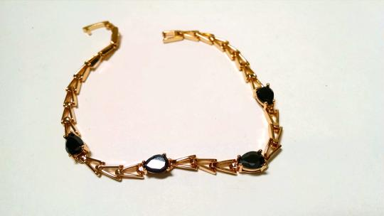 Other 14K Gold Filled Black Cubic Zirconia Crystals Bracelet J610