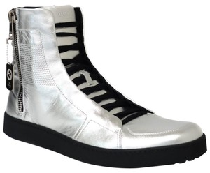 Gucci 376191 High-top Leather Sneaker Men's Sneaker Silver Athletic