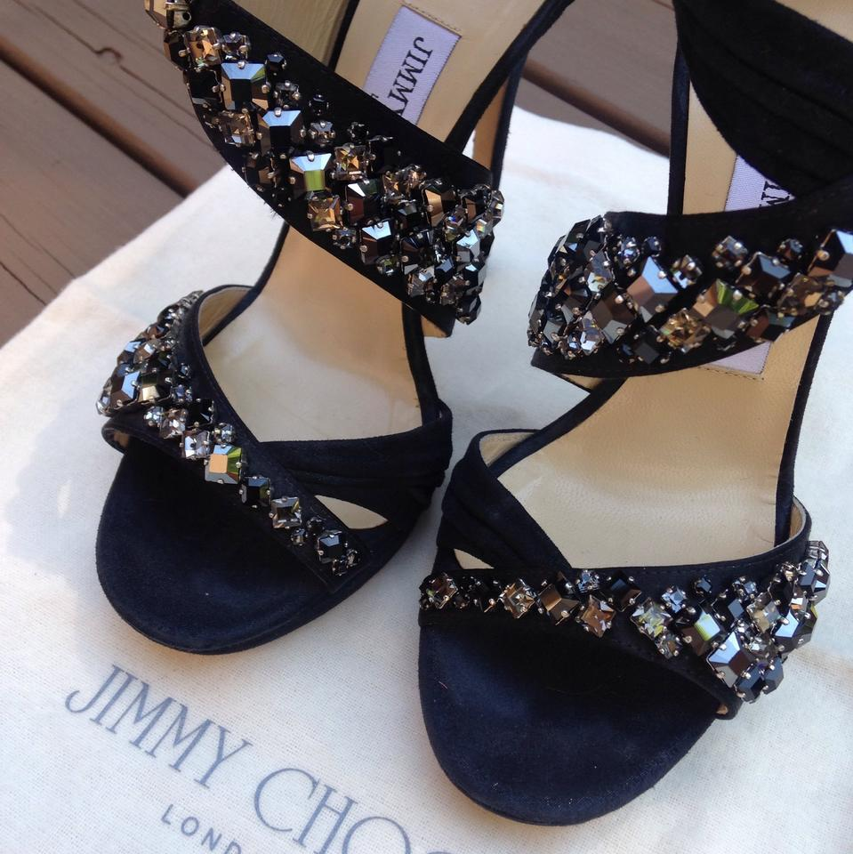 bb8609954c8 Jimmy Choo Black with Hued Crystals. Kani Crisscross Platform Sandal ...