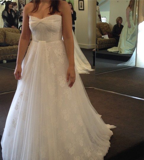 Monique Lhuillier White Silk Lace with A Tulle Overlay