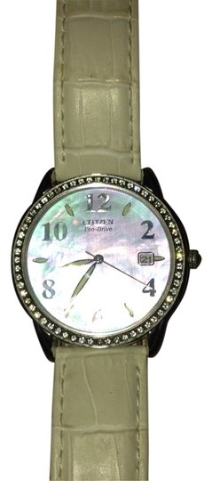 Preload https://item5.tradesy.com/images/citizen-stainless-with-white-leather-band-eco-drive-swarovski-crystals-watch-1680919-0-0.jpg?width=440&height=440