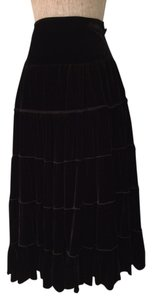 French Twist Velour Midi Skirt Black