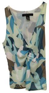 Kenneth Cole Sleeveless Top Blue, Green, Brown, White
