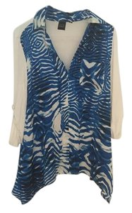 Saks Fifth Avenue Hi Lo Top Blue and white