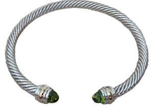 David Yurman Large size with pouch, 5 mm sterling silver Classic Cable Bracelet with 14k gold ends and peridot