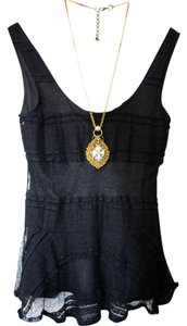 Anthropologie Chiffon A-line Lace Evening Sleeveless Top Black