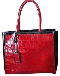 Elizabeth Arden Faux Leather Tote in Red and Black