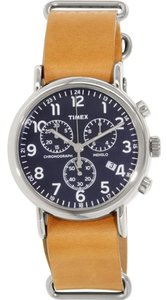 Timex Timex Men's Weekender Tan Leather Silver Tone Stainless Steel Blue Dial Chronograph Watch TW2P62300