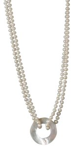 50 Inch Pearl Necklace with Mother of Pearl Pendant