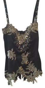Mandalay Beaded Sequin Silk Corset Top Black