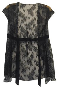 Twelfth St. by Cynthia Vincent Lace Top Black