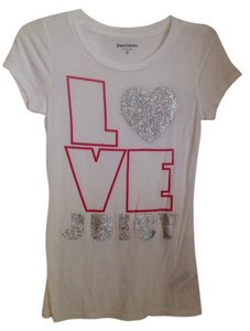 Juicy Couture T Shirt White with silver and pink
