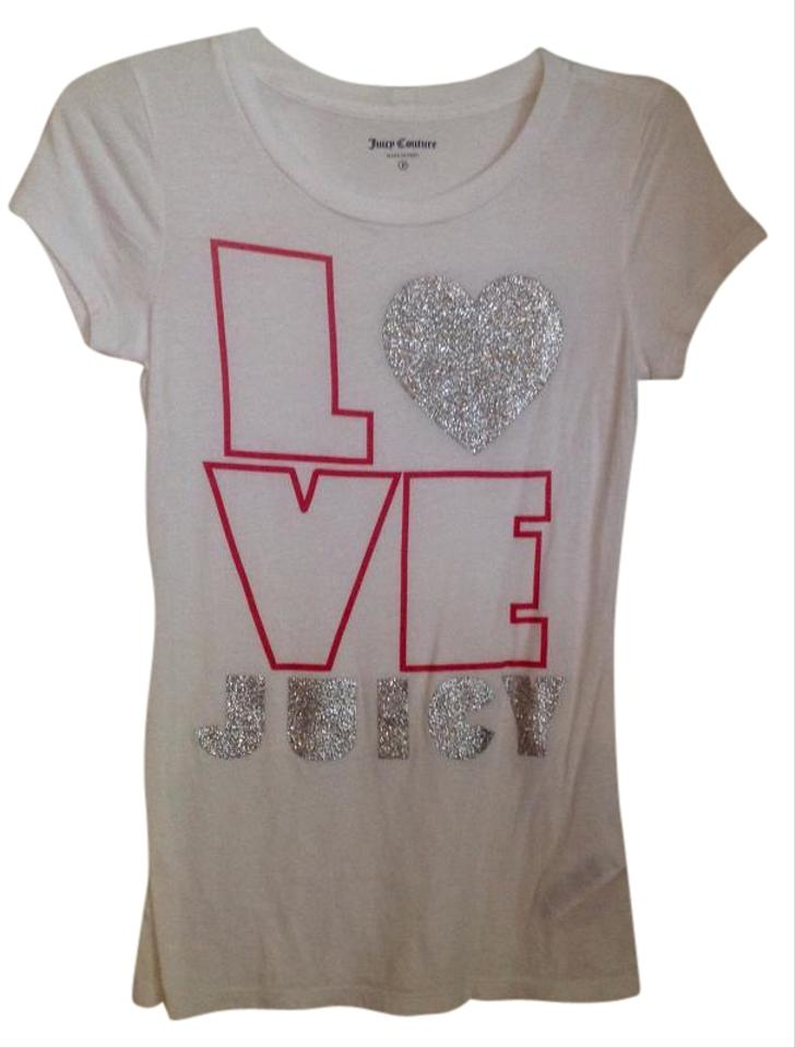 65fd98771e53 Juicy Couture White with Silver and Pink Tee Shirt Size Petite 0 ...