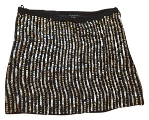 Theory Mini Silk Mini Skirt Black, Silver Sequined