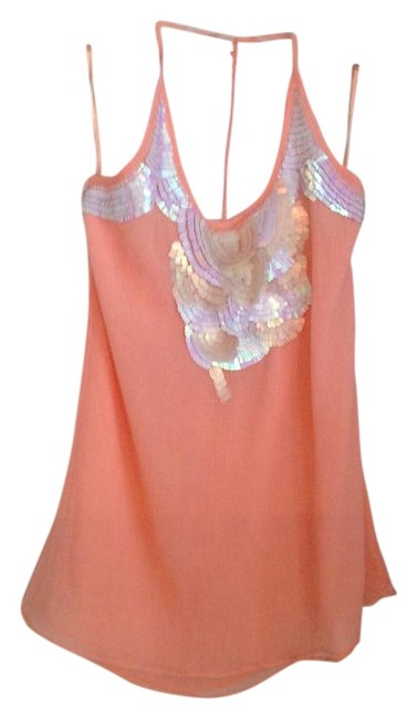 Item - Peach with Pearl Sequins Blouse Size 4 (S)