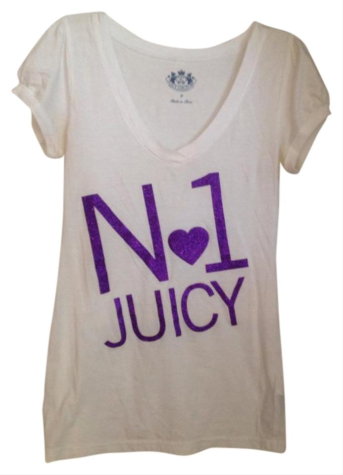 4072cae1d467 Juicy Couture White with Purple Tee Shirt Size Petite 0 (XXS) - Tradesy