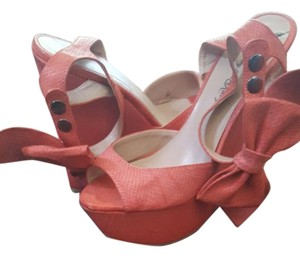 Penny Loves Kenny Wedge Open Toe Ankle Strap PINK Wedges