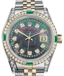 Rolex Womens Rolex Steel-Gold 31mm Datejust Black MOP String Emerald Diamond