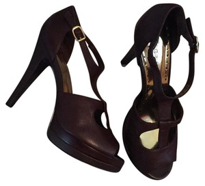 BCBGMAXAZRIA Rich leather chocolate brown Platforms
