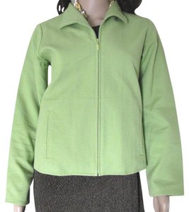 Eileen Fisher Spring Fisher Women Small S 4 6 8 Petite Ps Zippered Cotton Spandex green Jacket