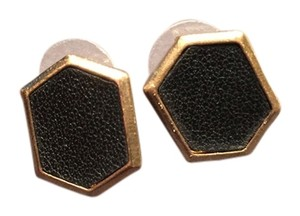 Other Black and Gold Leather(isn) Stud Earrings