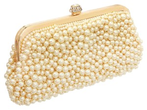 Other Pearl Pearl Evening Cream, Gold, Clear Crystal Clutch