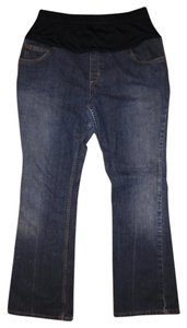 Liz Lange Maternity Dark Blue Faded Paneled Bootcut Maternity Jeans