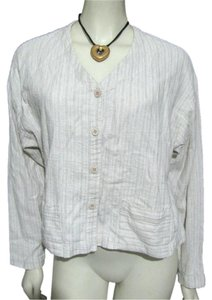 Eileen Fisher Creme Cotton Linen Blouse Buttoned Usa Ivory Shirt M 8 10 Button Down Shirt off white