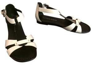 Franco Sarto Flat White and Black Sandals