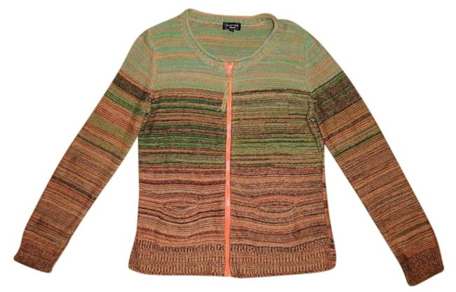 chic Spense Gradient Ombre Striped Boho Zip-up Sweater Cardigan